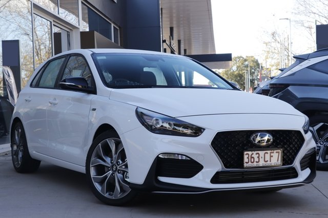 Demo Hyundai i30 PD.V4 MY21 N Line D-CT Toowoomba, 2021 Hyundai i30 PD.V4 MY21 N Line D-CT Polar White 7 Speed Sports Automatic Dual Clutch Hatchback