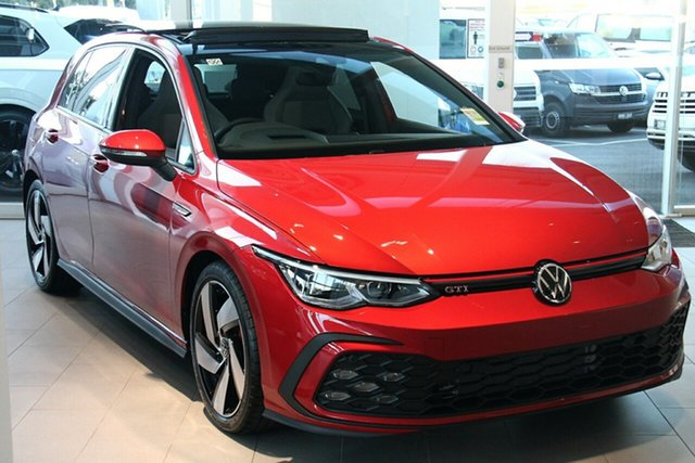 New Volkswagen Golf 8 MY21 GTI DSG Indooroopilly, 2021 Volkswagen Golf 8 MY21 GTI DSG Kings Red Metallic 7 Speed Sports Automatic Dual Clutch