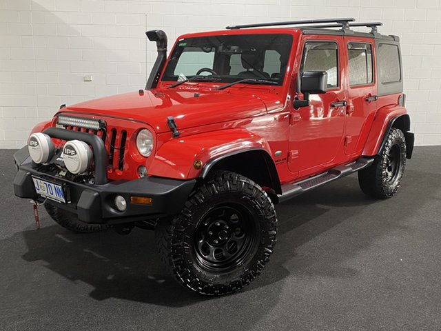 Used Jeep Wrangler JK MY2015 Unlimited Overland Glenorchy, 2015 Jeep Wrangler JK MY2015 Unlimited Overland Red 5 Speed Automatic Hardtop
