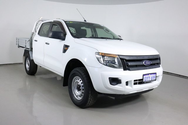 Used Ford Ranger PX XL 2.2 (4x4) Bentley, 2012 Ford Ranger PX XL 2.2 (4x4) White 6 Speed Automatic Crew Cab Chassis