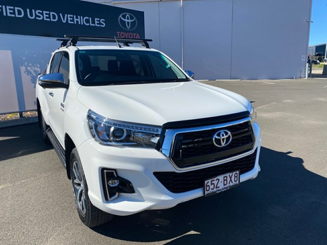 Pre-Owned Toyota Hilux GUN126R MY19 SR5 (4x4) Warwick, 2018 Toyota Hilux GUN126R MY19 SR5 (4x4) Glacier White 6 Speed Manual Double Cab Pick Up