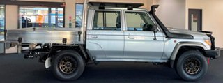 2018 Toyota Landcruiser VDJ79R GXL Double Cab Silver 5 Speed Manual Cab Chassis.