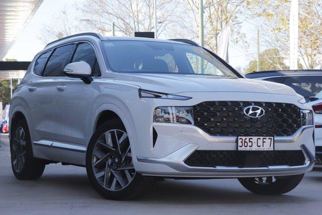 Demo Hyundai Santa Fe Tm.v3 MY21 Highlander Toowoomba, 2021 Hyundai Santa Fe Tm.v3 MY21 Highlander Glacier White 8 Speed Sports Automatic Wagon