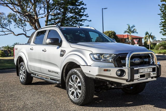 Used Ford Ranger PX MkII 2018.00MY Wildtrak Double Cab Port Macquarie, 2017 Ford Ranger PX MkII 2018.00MY Wildtrak Double Cab Ingot Silver 6 Speed Sports Automatic Utility