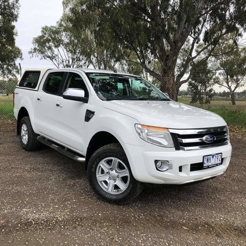 Used Ford Ranger PX XLT Double Cab 4x2 Hi-Rider Epsom, 2013 Ford Ranger PX XLT Double Cab 4x2 Hi-Rider White 6 Speed Sports Automatic Utility