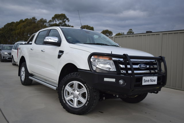 Used Ford Ranger PX XLT Double Cab Echuca, 2013 Ford Ranger PX XLT Double Cab White 6 Speed Sports Automatic Utility