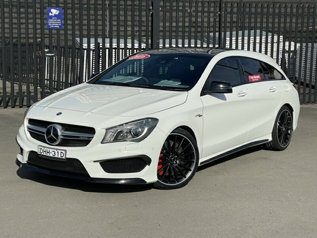 Used Mercedes-Benz CLA-Class X117 807MY CLA45 AMG Shooting Brake SPEEDSHIFT DCT 4MATIC Newcastle, 2016 Mercedes-Benz CLA-Class X117 807MY CLA45 AMG Shooting Brake SPEEDSHIFT DCT 4MATIC White 7 Speed