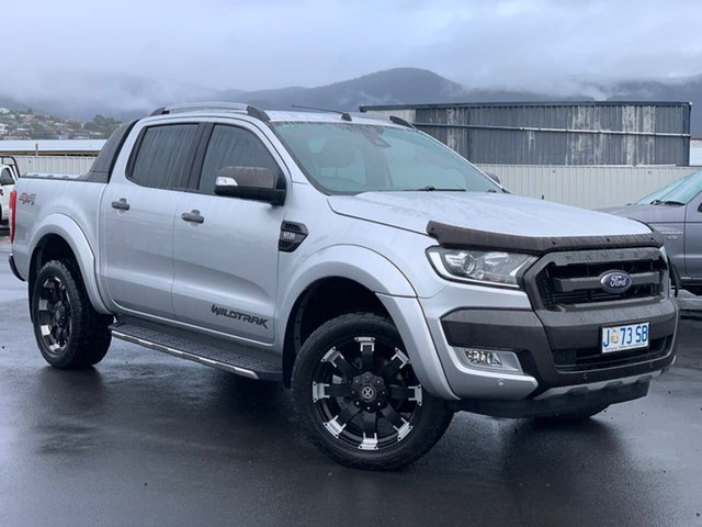 Used Ford Ranger PX MkII Wildtrak Double Cab Hobart, 2016 Ford Ranger PX MkII Wildtrak Double Cab Silver 6 Speed Sports Automatic Utility