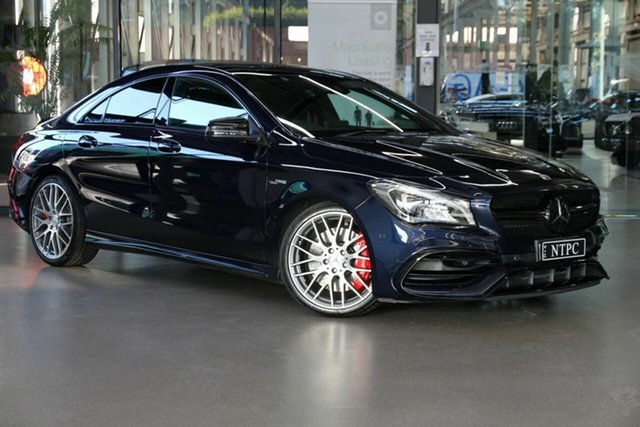 Used Mercedes-Benz CLA-Class C117 808+058MY CLA45 AMG SPEEDSHIFT DCT 4MATIC North Melbourne, 2018 Mercedes-Benz CLA-Class C117 808+058MY CLA45 AMG SPEEDSHIFT DCT 4MATIC Blue 7 Speed