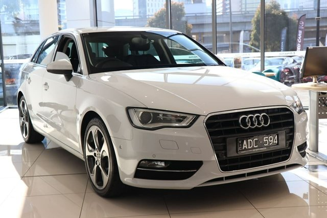 Used Audi A3 8V Ambition Sportback S Tronic South Melbourne, 2014 Audi A3 8V Ambition Sportback S Tronic Glacier White 7 Speed Sports Automatic Dual Clutch