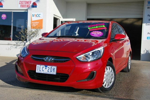 Used Hyundai Accent RB3 MY16 Active Wendouree, 2015 Hyundai Accent RB3 MY16 Active Red 6 Speed CVT Auto Sequential Hatchback