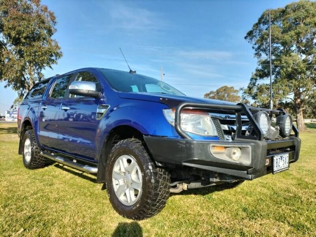 Used Ford Ranger PX XLT Double Cab Melton, 2014 Ford Ranger PX XLT Double Cab Blue 6 Speed Sports Automatic Utility