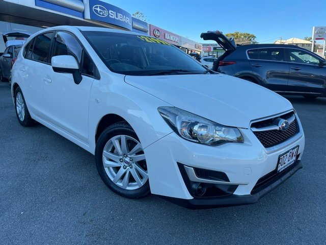 Used Subaru Impreza G4 MY15 2.0i Lineartronic AWD Gympie, 2015 Subaru Impreza G4 MY15 2.0i Lineartronic AWD Pearl White 6 Speed Constant Variable Hatchback