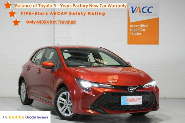 Used Toyota Corolla Mzea12R Ascent Sport Moorabbin, 2019 Toyota Corolla Mzea12R Ascent Sport Orange 10 Speed Constant Variable Hatchback