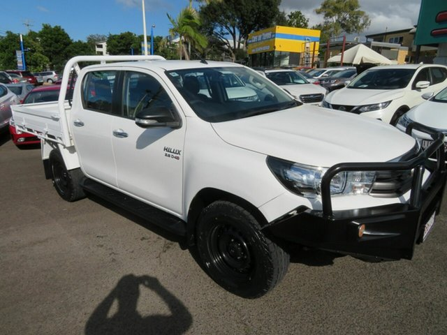 Used Toyota Hilux GUN126R SR Double Cab Mount Gravatt, 2017 Toyota Hilux GUN126R SR Double Cab White 6 Speed Sports Automatic Cab Chassis