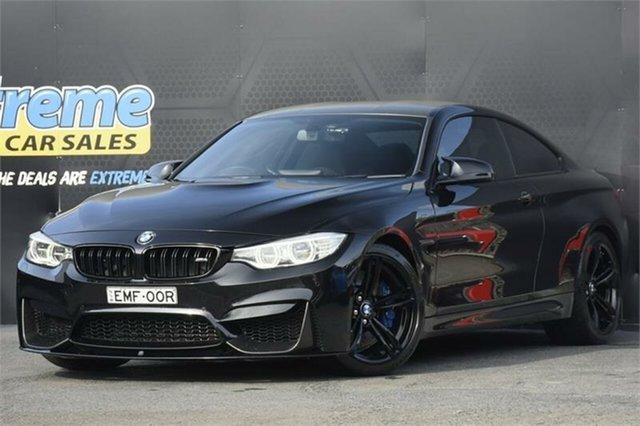 Used BMW M4 F82 M-DCT Campbelltown, 2014 BMW M4 F82 M-DCT Black 7 Speed Sports Automatic Dual Clutch Coupe