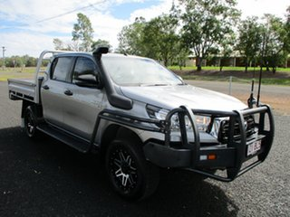 2018 Toyota Hilux GUN126R MY19 SR (4x4) Silver Sky 6 Speed Manual Double Cab Chassis.