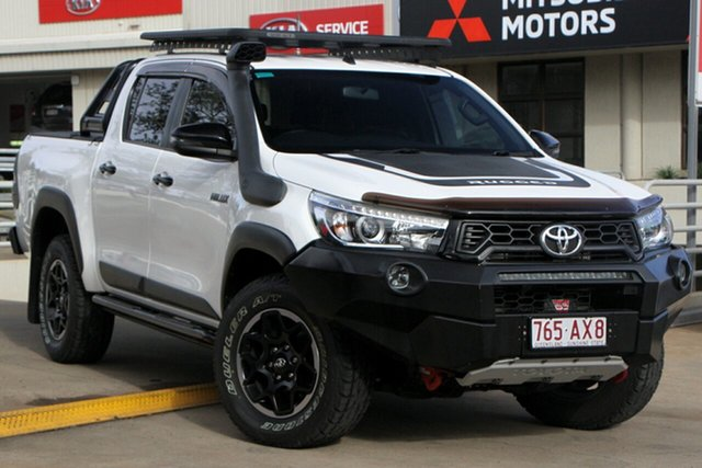 Used Toyota Hilux GUN126R Rugged X Double Cab Toowoomba, 2018 Toyota Hilux GUN126R Rugged X Double Cab White 6 Speed Manual Utility