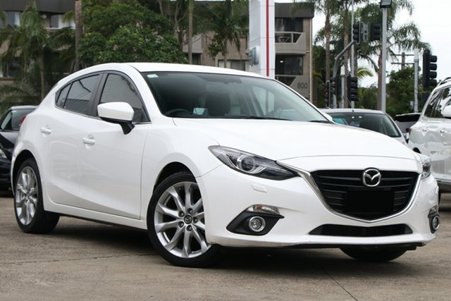 Pre-Owned Mazda 3 BM SP25 GT Mosman, 2014 Mazda 3 BM SP25 GT Snowflake White Pearl 6 Speed Automatic Hatchback