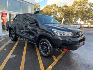 2019 Toyota Hilux GUN126R Rugged X Double Cab Black 6 Speed Manual Utility.