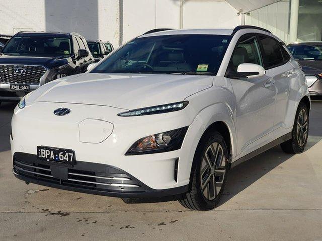 Demo Hyundai Kona Os.v4 MY21 electric Elite Oakleigh, 2021 Hyundai Kona Os.v4 MY21 electric Elite White 1 Speed Reduction Gear Wagon