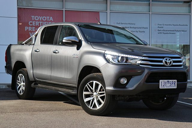 Pre-Owned Toyota Hilux GUN126R SR5 Double Cab South Morang, 2017 Toyota Hilux GUN126R SR5 Double Cab Graphite 6 Speed Sports Automatic Utility