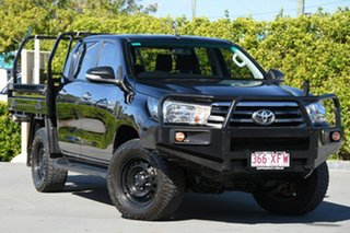 2017 Toyota Hilux GUN126R SR Double Cab Black 6 Speed Sports Automatic Cab Chassis.