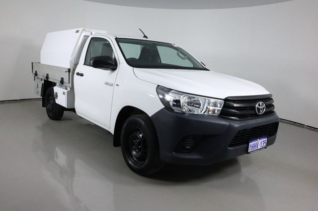 Used Toyota Hilux TGN121R Workmate Bentley, 2016 Toyota Hilux TGN121R Workmate White 5 Speed Manual Cab Chassis