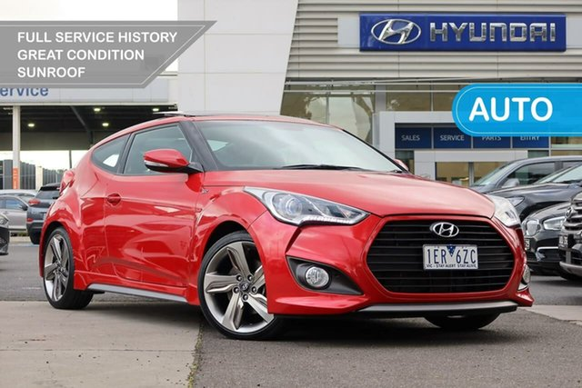 Used Hyundai Veloster FS3 SR Coupe Turbo South Melbourne, 2014 Hyundai Veloster FS3 SR Coupe Turbo Red 6 Speed Sports Automatic Hatchback