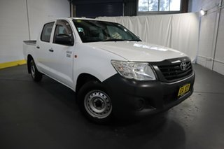 2014 Toyota Hilux TGN16R MY14 Workmate Double Cab 4x2 White 4 Speed Automatic Utility.
