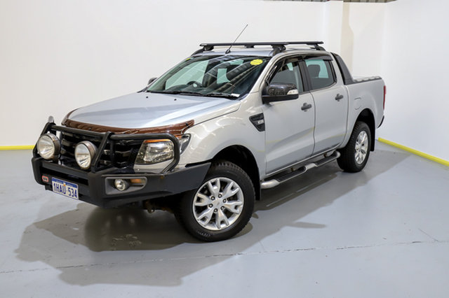 Used Ford Ranger PX Wildtrak Double Cab Canning Vale, 2013 Ford Ranger PX Wildtrak Double Cab Silver 6 Speed Sports Automatic Utility