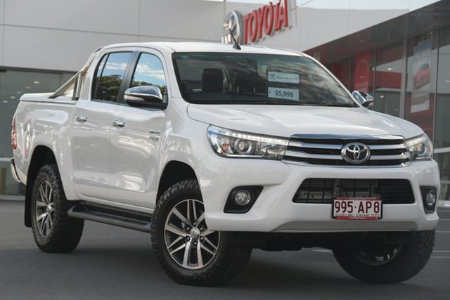 Pre-Owned Toyota Hilux GUN126R SR5 Double Cab Woolloongabba, 2016 Toyota Hilux GUN126R SR5 Double Cab White 6 Speed Sports Automatic Utility
