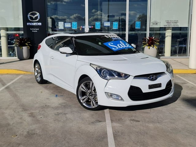 Used Hyundai Veloster FS2 + Coupe D-CT Kirrawee, 2012 Hyundai Veloster FS2 + Coupe D-CT White 6 Speed Sports Automatic Dual Clutch Hatchback