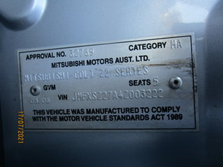 2005 Mitsubishi Colt RG LS Continuous Variable Hatchback