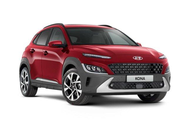 New Hyundai Kona Os.v4 MY21 Highlander 2WD Nailsworth, 2021 Hyundai Kona Os.v4 MY21 Highlander 2WD Pulse Red & Black Roof 8 Speed Constant Variable Wagon