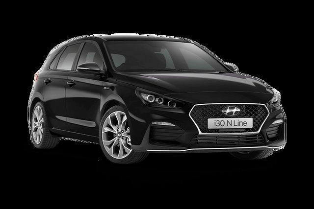 Demo Hyundai i30 PD.V4 MY21 N Line D-CT Hamilton, 2021 Hyundai i30 PD.V4 MY21 N Line D-CT Phantom Black 7 Speed Sports Automatic Dual Clutch Hatchback