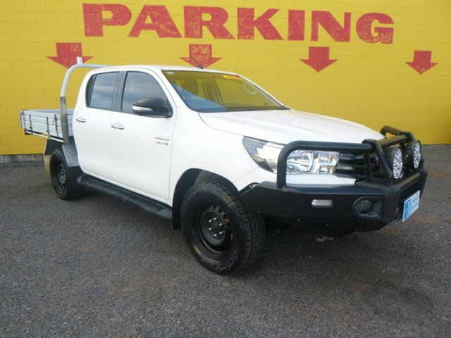 Used Toyota Hilux GUN126R SR Double Cab Winnellie, 2017 Toyota Hilux GUN126R SR Double Cab White 6 Speed Sports Automatic Cab Chassis