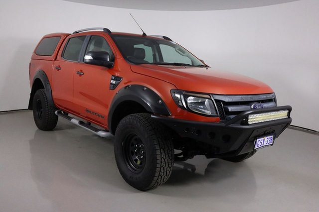 Used Ford Ranger PX Wildtrak 3.2 (4x4) Bentley, 2014 Ford Ranger PX Wildtrak 3.2 (4x4) Orange 6 Speed Automatic Crew Cab Utility