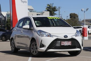 2018 Toyota Yaris NCP130R Ascent Glacier White 4 Speed Automatic Hatchback.