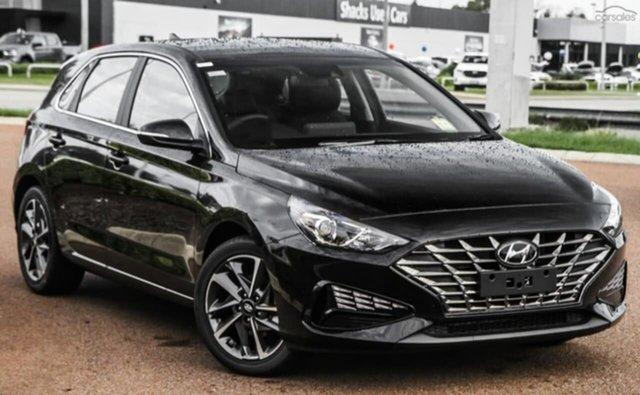 Demo Hyundai i30 CN7.V1 MY21 Elite Penrith, 2020 Hyundai i30 CN7.V1 MY21 Elite Phantom Black 6 Speed Auto Sequential Sedan
