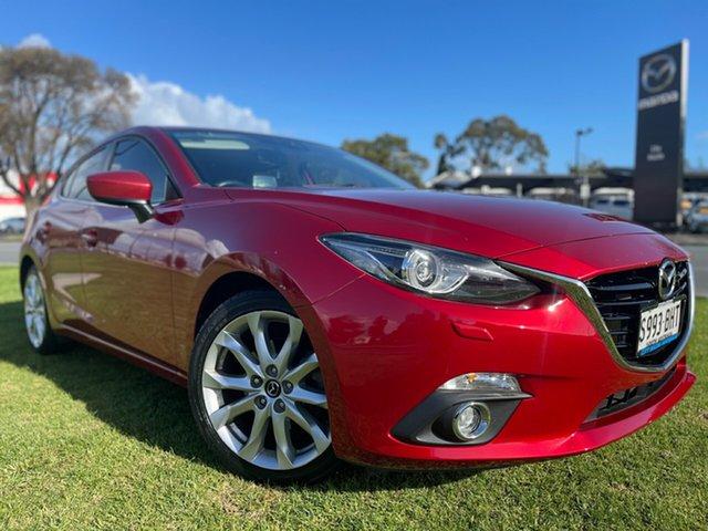 Used Mazda 3 BM5438 SP25 SKYACTIV-Drive GT Hindmarsh, 2015 Mazda 3 BM5438 SP25 SKYACTIV-Drive GT Soul Red/white Leather 6 Speed Sports Automatic Hatchback