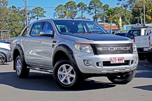 Used Ford Ranger PX XLT Double Cab Chandler, 2013 Ford Ranger PX XLT Double Cab Highlight Silver 6 Speed Manual Utility