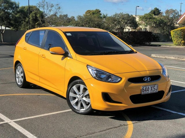 Used Hyundai Accent RB6 MY18 Sport Chermside, 2017 Hyundai Accent RB6 MY18 Sport Yellow 6 Speed Sports Automatic Hatchback