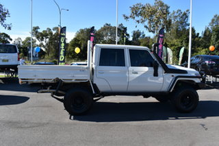 2017 Toyota Landcruiser VDJ79R Workmate Double Cab White 5 Speed Manual Cab Chassis.
