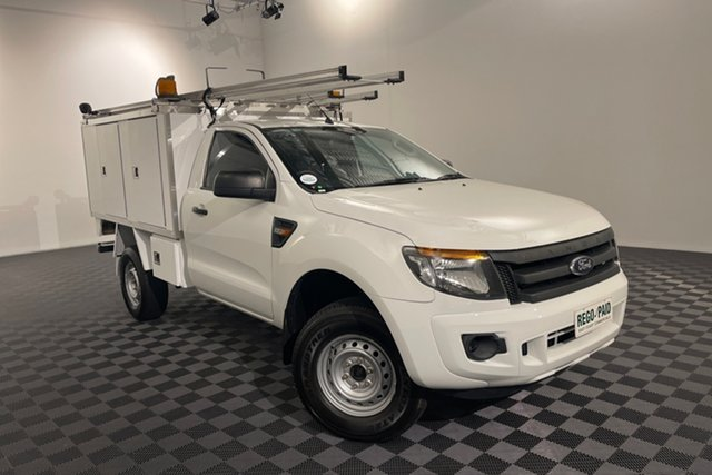 Used Ford Ranger PX XL Acacia Ridge, 2013 Ford Ranger PX XL Cool White 6 speed Manual Cab Chassis
