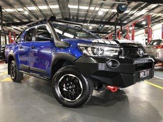 2018 Toyota Hilux GUN126R Rugged X Double Cab Nebula Blue 6 Speed Sports Automatic Utility.