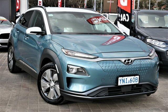Used Hyundai Kona OS.3 MY19 electric Highlander Phillip, 2019 Hyundai Kona OS.3 MY19 electric Highlander Ceramic Blue & Chalk White Roof 1 Speed