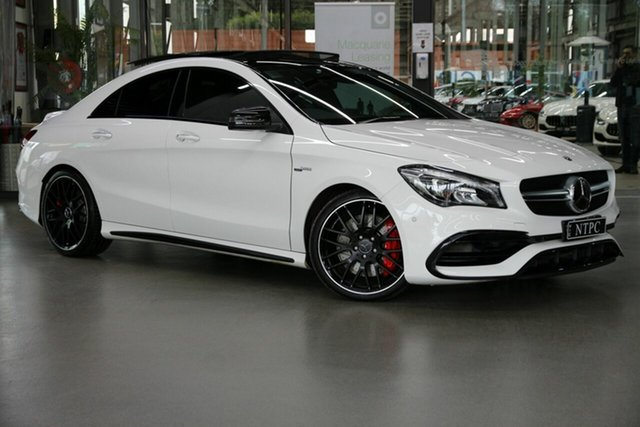 Used Mercedes-Benz CLA-Class C117 809MY CLA45 AMG SPEEDSHIFT DCT 4MATIC North Melbourne, 2019 Mercedes-Benz CLA-Class C117 809MY CLA45 AMG SPEEDSHIFT DCT 4MATIC White 7 Speed