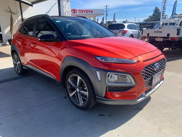Pre-Owned Hyundai Kona OS.2 MY19 Highlander (AWD) Oakey, 2018 Hyundai Kona OS.2 MY19 Highlander (AWD) 7 Speed Auto Dual Clutch Wagon