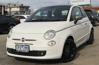 2012 Fiat 500 Series 1 Dualogic White 5 Speed Sports Automatic Single Clutch Hatchback.